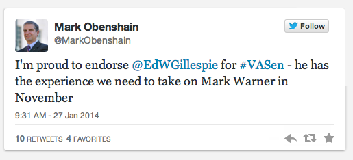 Obenshain Endorsement Tweet